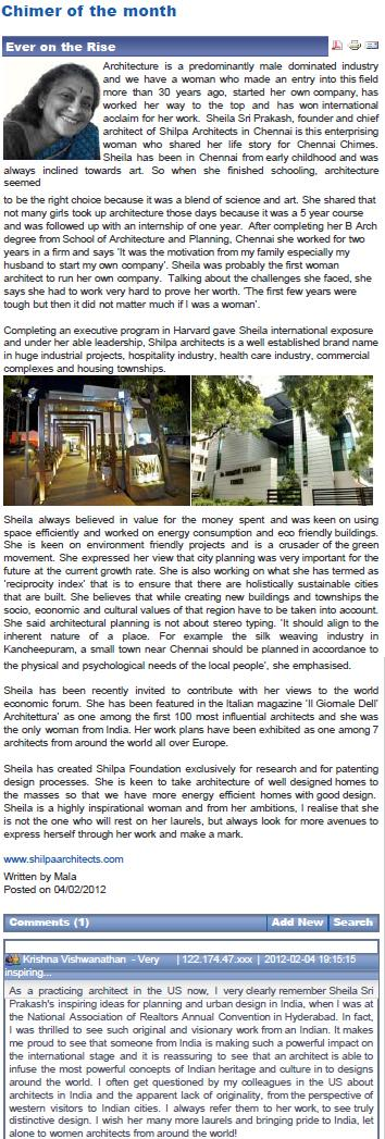 Chennai Chimes Profiles Sheila Sri Prakash of Shilpa Architects