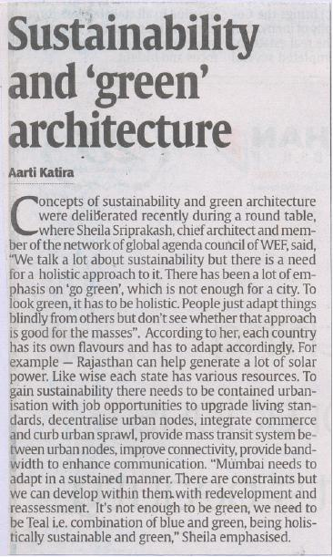 DNA Property (Mumbai), 17 March 2012: Sustainability and 'green' architecture.