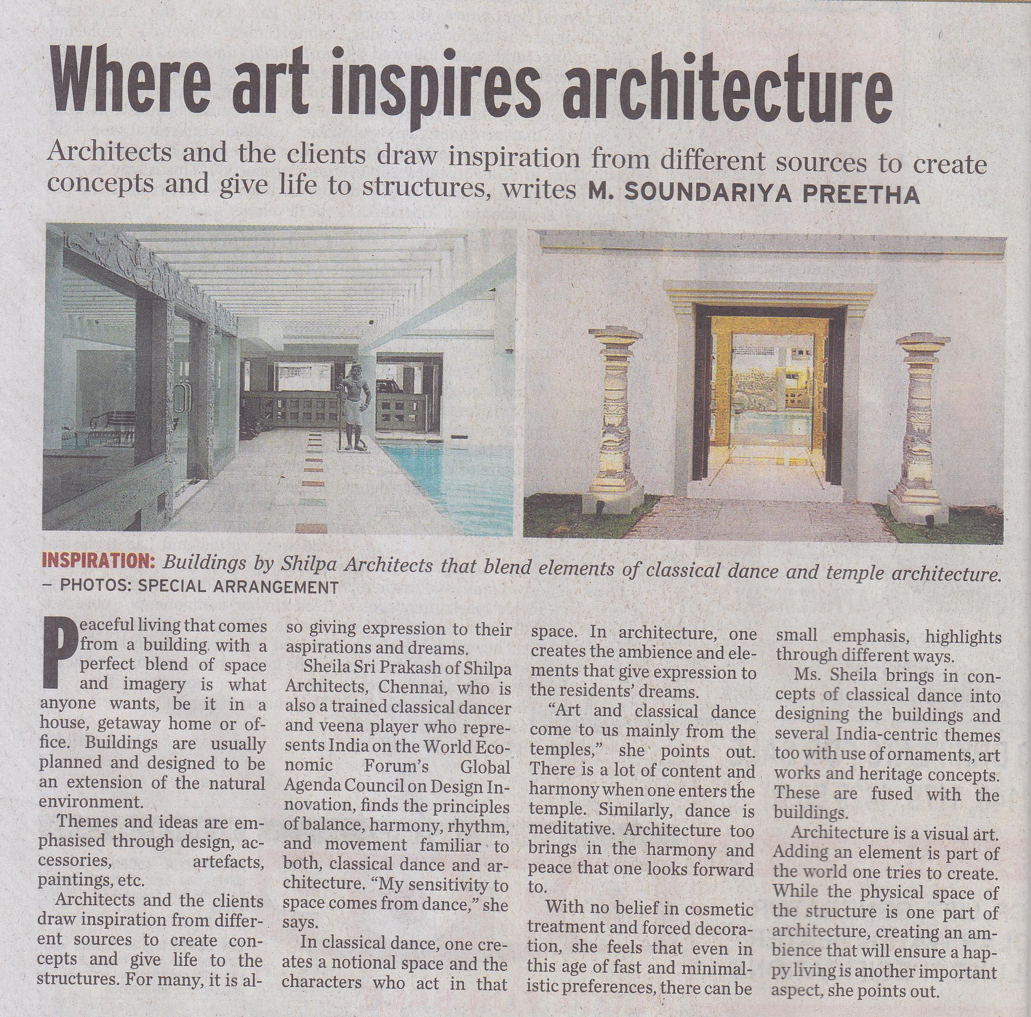 The Hindu, 10 March 2012: Where art inspires architecture