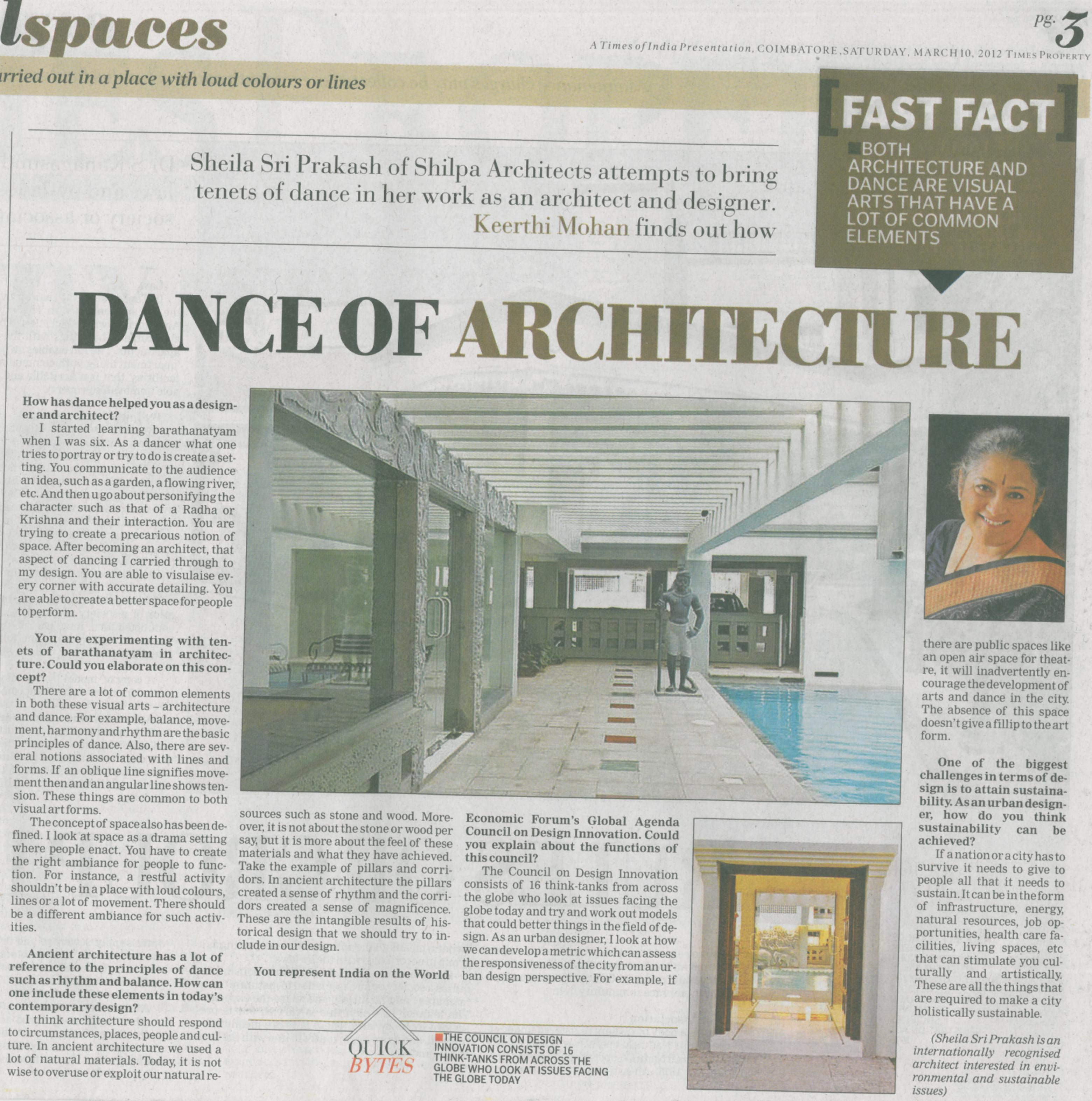 Times of India, 10 Mar 2012: DANCE OF ARCHITECTURE