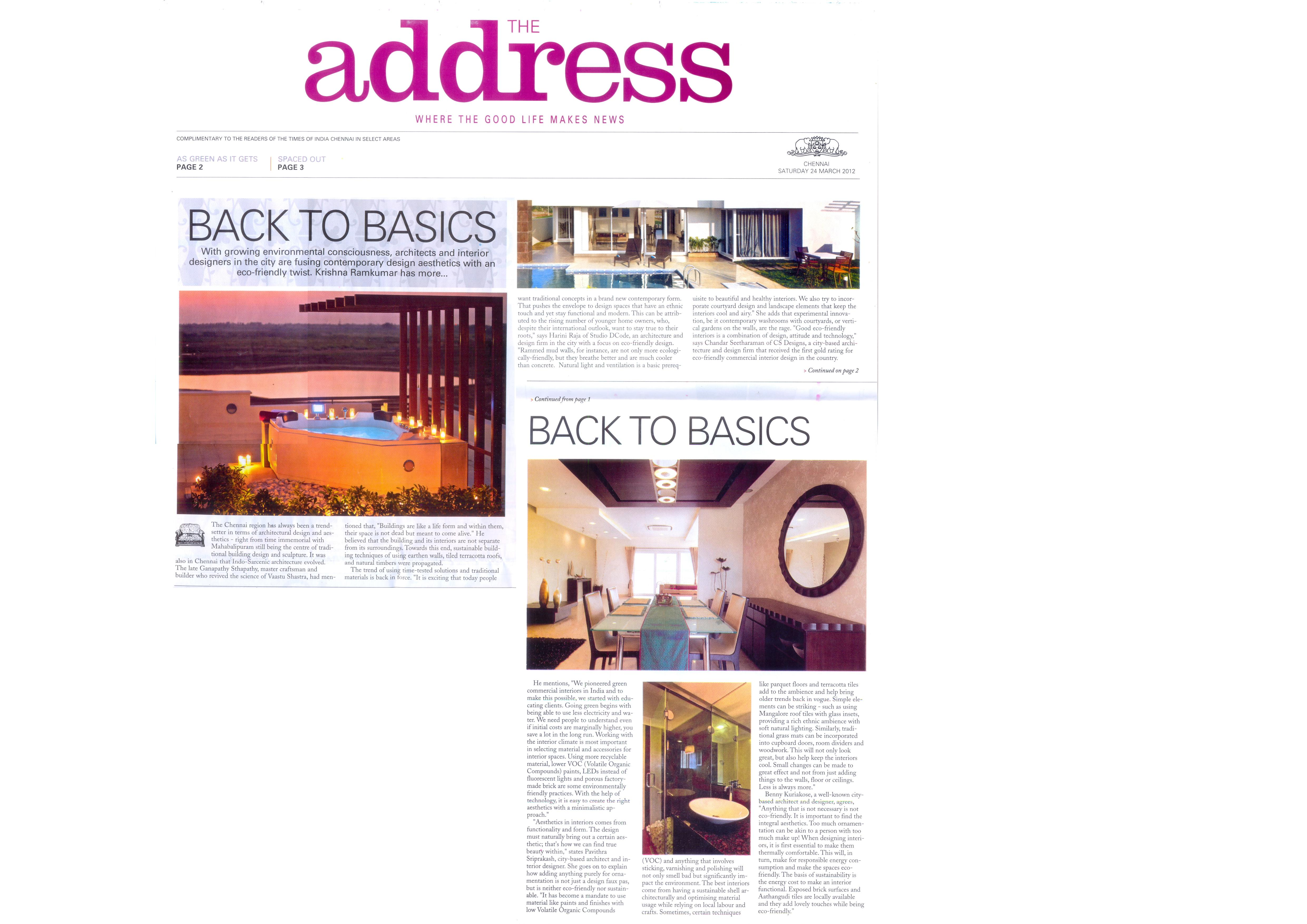 Times of India, 24 March 2012: BACK TO BASICS