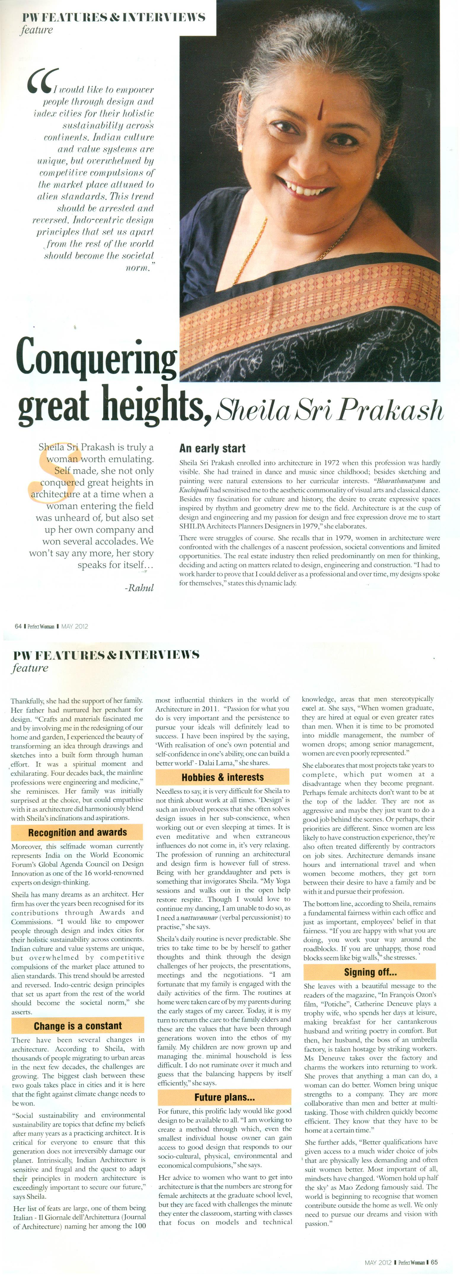 Perfect Woman, May 2012: Conquering great heights, Sheila Sri Prakash.