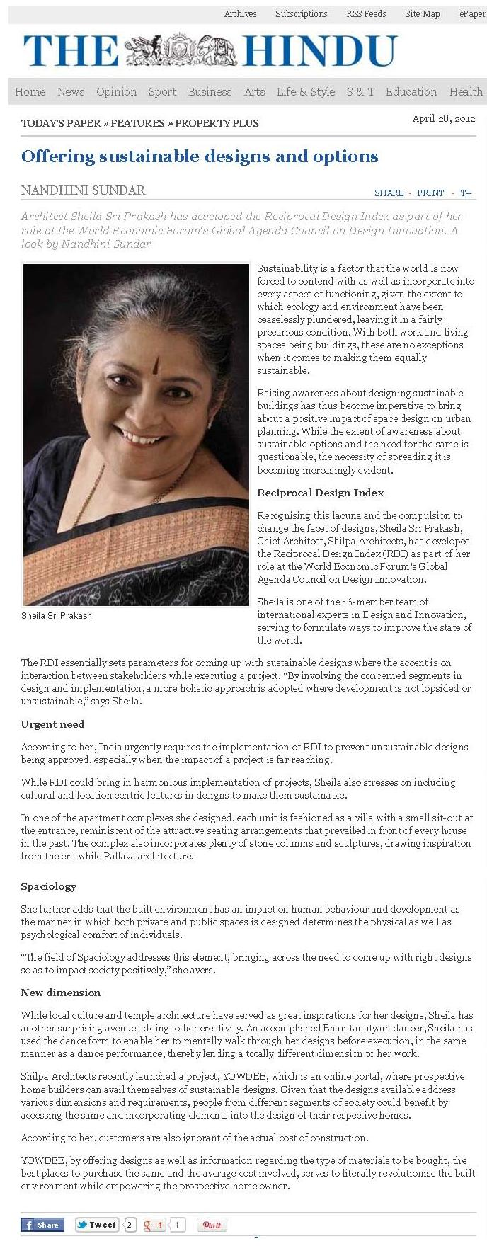 The Hindu, Apr 28 2012: Offering sustainable designs and options