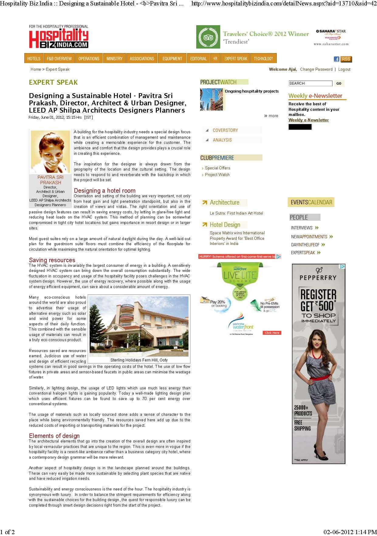 Hospitality Biz - Expert Speak (Pavitra Sri Prakash)