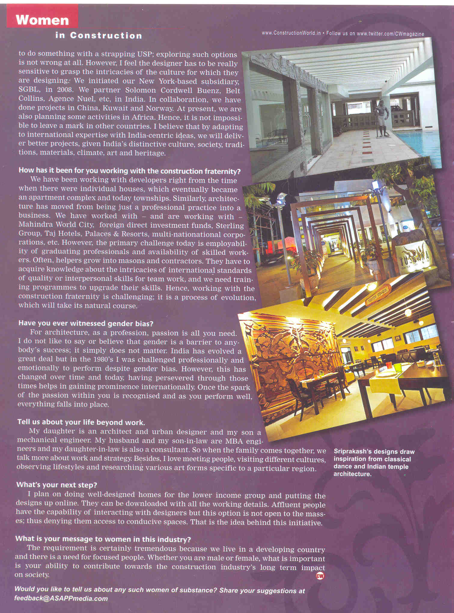 Construction World, Nov 2012: Women in Construction interview with Sheila Sri Prakash of Shilpa Architects