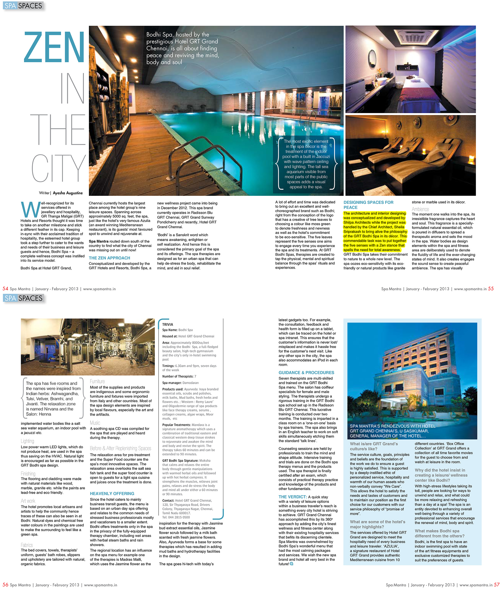 Spa Mantra, Jan/Feb 2013 - Zen in the City - GRT Bodhi Spa designed by Shilpa Architects