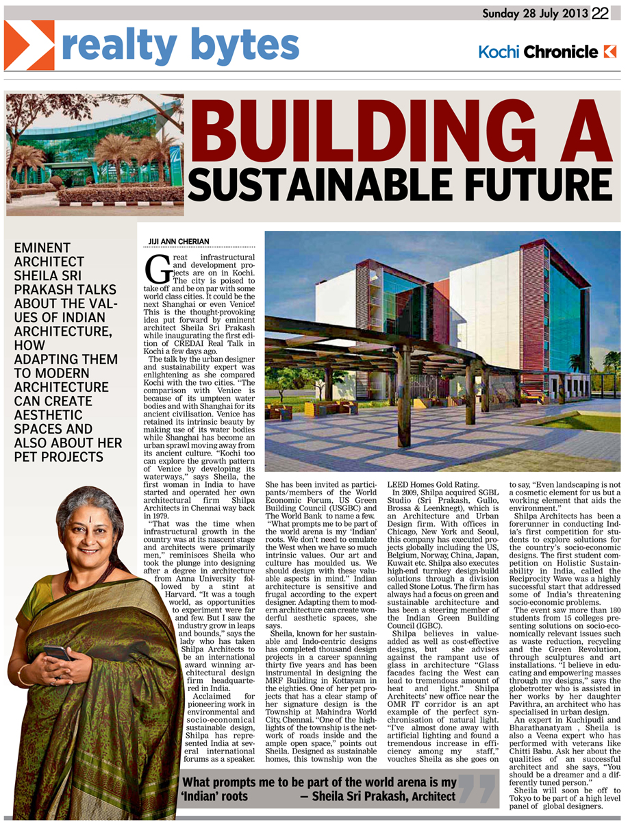 28 Jul 2013, Deccan Chronicle - BUILDING A SUSTAINABLE FUTURE: