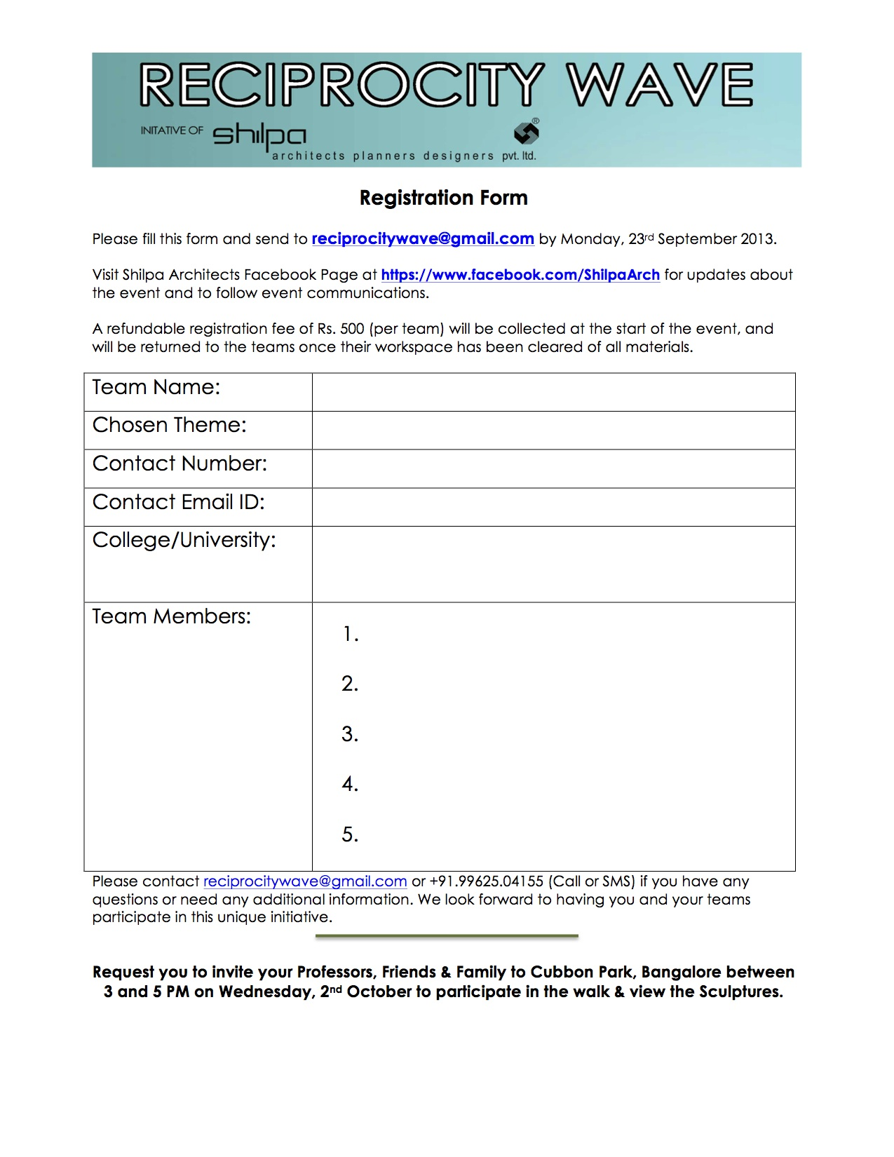 Reciprocity Wave Bangalore - Registration Forms