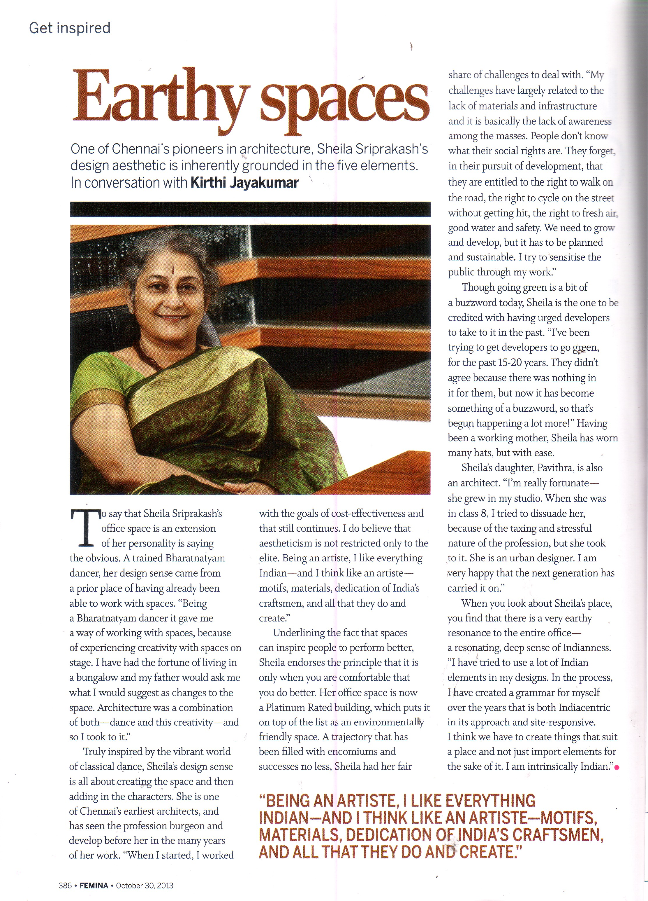 Femina, Oct 2013 – Earthy Spaces with Sheila Sri Prakash