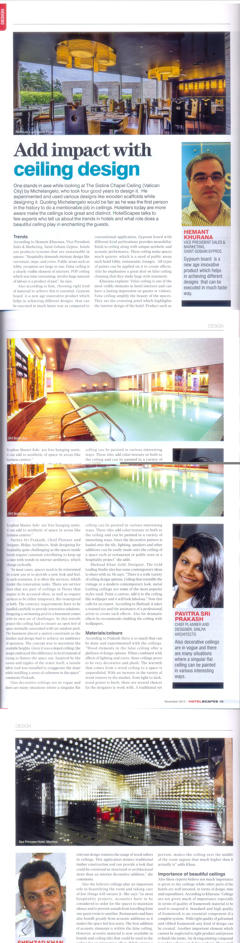 HotelScapes magazine Nov 2013 with Pavitra Sriprakash