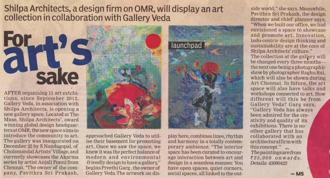03 Jan 2014, The New Indian Express: For art's sake