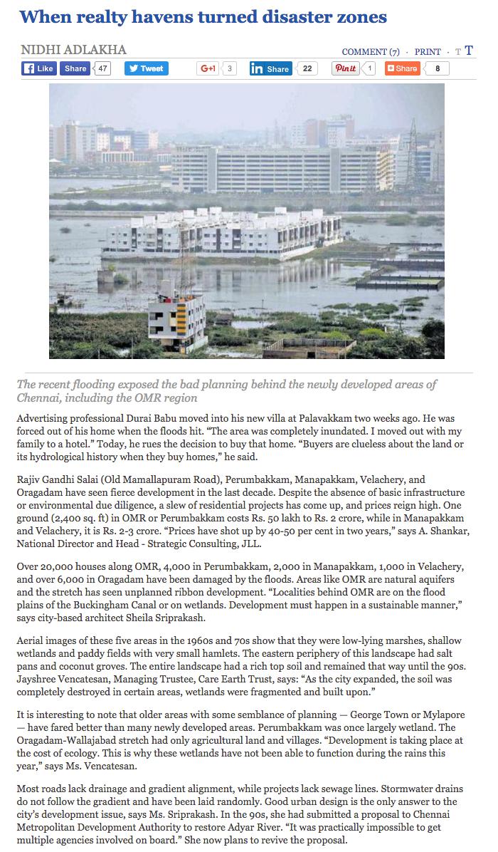 The Hindu - Chennai Floods - Sheila Sri Prakash