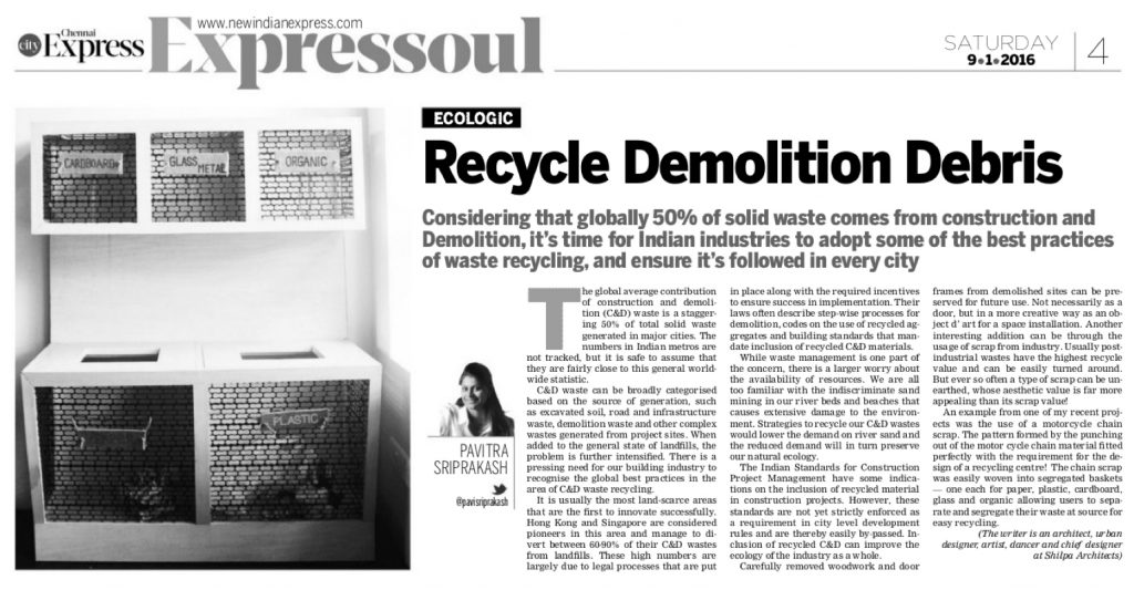 New Indian Express - ECOLOGIC - Recycle Demolition Debris