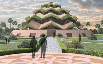 """A civic project titled 'BAHAI TEMPLE' inspired by principles of Sacred Geometry and the description of the House of worship promoting the """"oneness of humankind""""."""