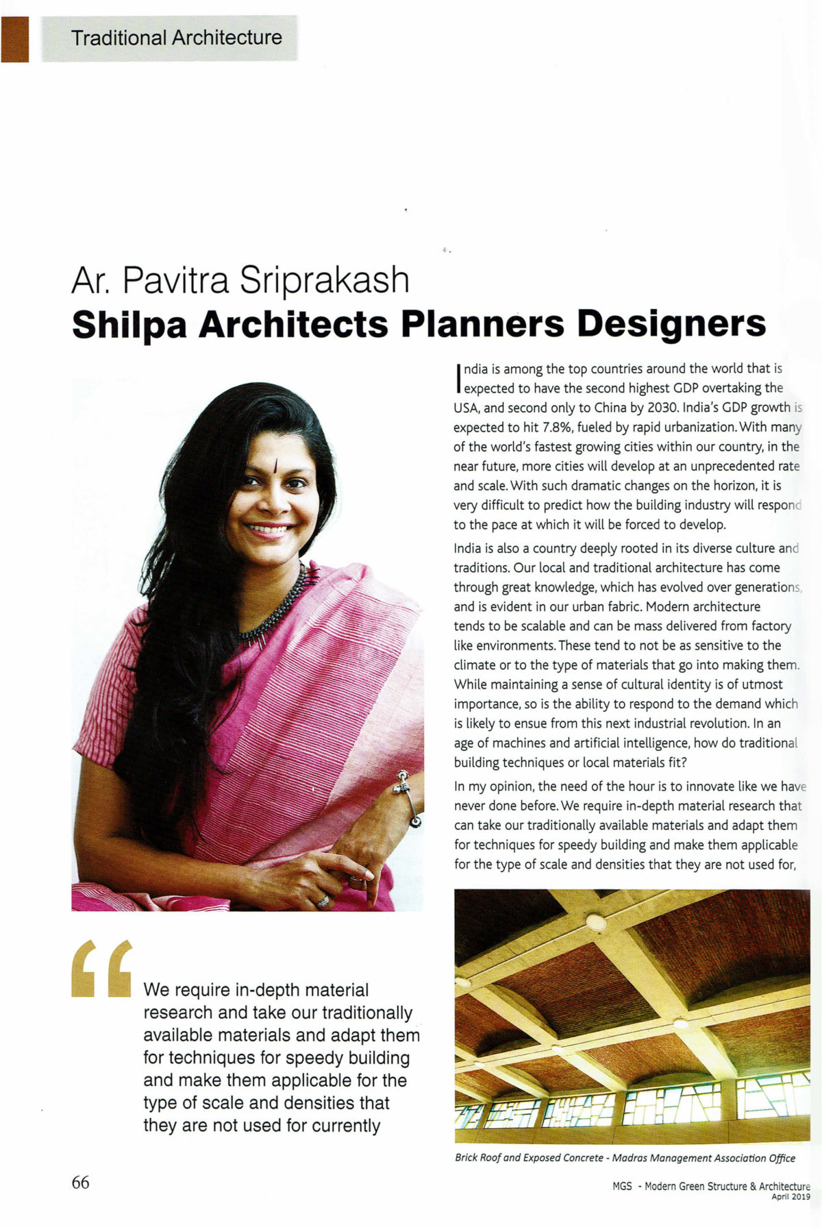 Pavitra Sriprakash, the Chief Designer and Director of Shilpa Architects Planners Designers is featured in the MGS Architecture magazine 2019.