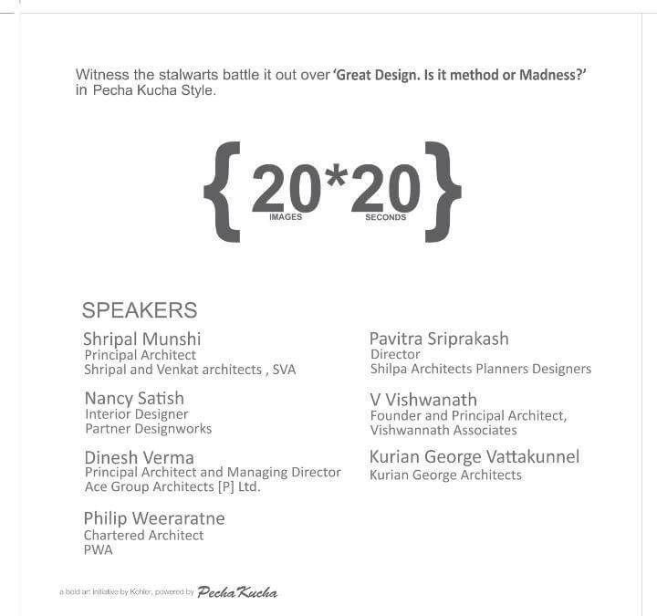Pavitra Sriprakash, the Chief Designer and Director of Shilpa Architects, will be joining some of the Industry stalwarts at the event curated by Kohler. The event is themed around 'Great Design: Method or Madness' which will narrate their inspirational stories through the Pecha Kucha format.